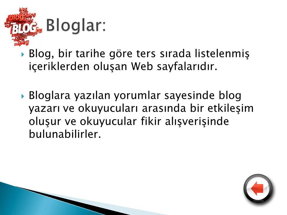  Blog, bir tarihe göre ters sırada listelenmiş içeriklerden oluşan Web sayfalarıdır.  Bloglara yazılan yorumlar sayesinde blog yazarı ve okuyucuları