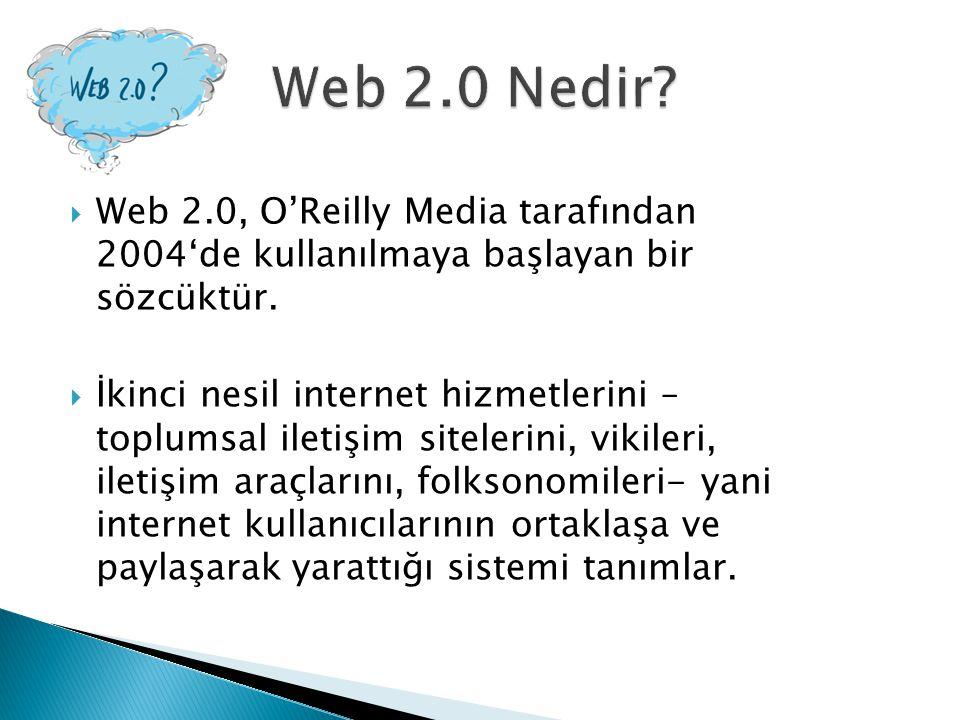  Web 2.0, O'Reilly Media tarafından 2004'de kullanılmaya başlayan bir sözcüktür.  İkinci nesil internet hizmetlerini – toplumsal iletişim sitelerini