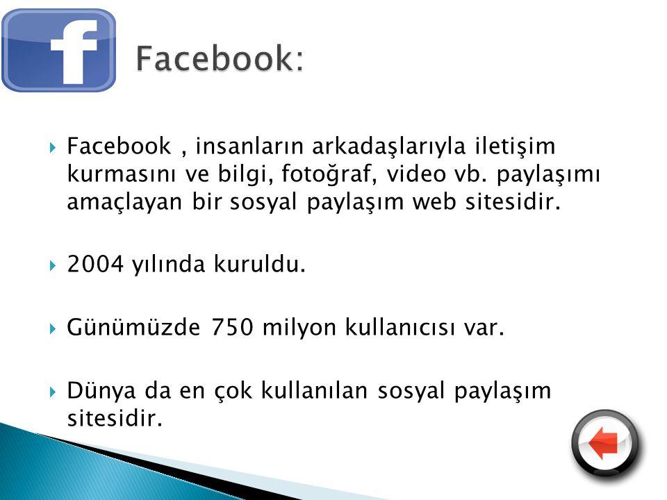  Facebook, insanların arkadaşlarıyla iletişim kurmasını ve bilgi, fotoğraf, video vb. paylaşımı amaçlayan bir sosyal paylaşım web sitesidir.  2004 y