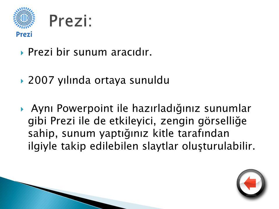  Prezi bir sunum aracıdır.  2007 yılında ortaya sunuldu  Aynı Powerpoint ile hazırladığınız sunumlar gibi Prezi ile de etkileyici, zengin görselliğ