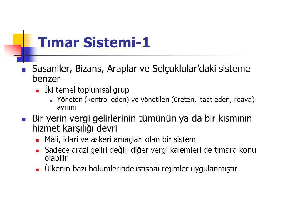 Tımar Sistemi-1 Sasaniler, Bizans, Araplar ve Selçuklular'daki sisteme benzer İki temel toplumsal grup Yöneten (kontrol eden) ve yönetilen (üreten, it
