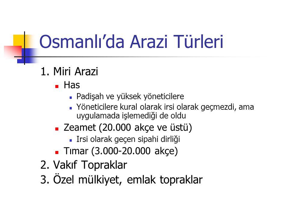 Osmanlı'da Arazi Türleri 1. Miri Arazi Has Padişah ve yüksek yöneticilere Yöneticilere kural olarak irsi olarak geçmezdi, ama uygulamada işlemediği de