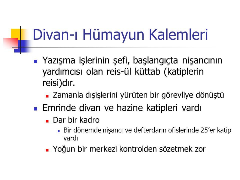 Divan-ı Hümayun Kalemleri Yazışma işlerinin şefi, başlangıçta nişancının yardımcısı olan reis-ül küttab (katiplerin reisi)dır.