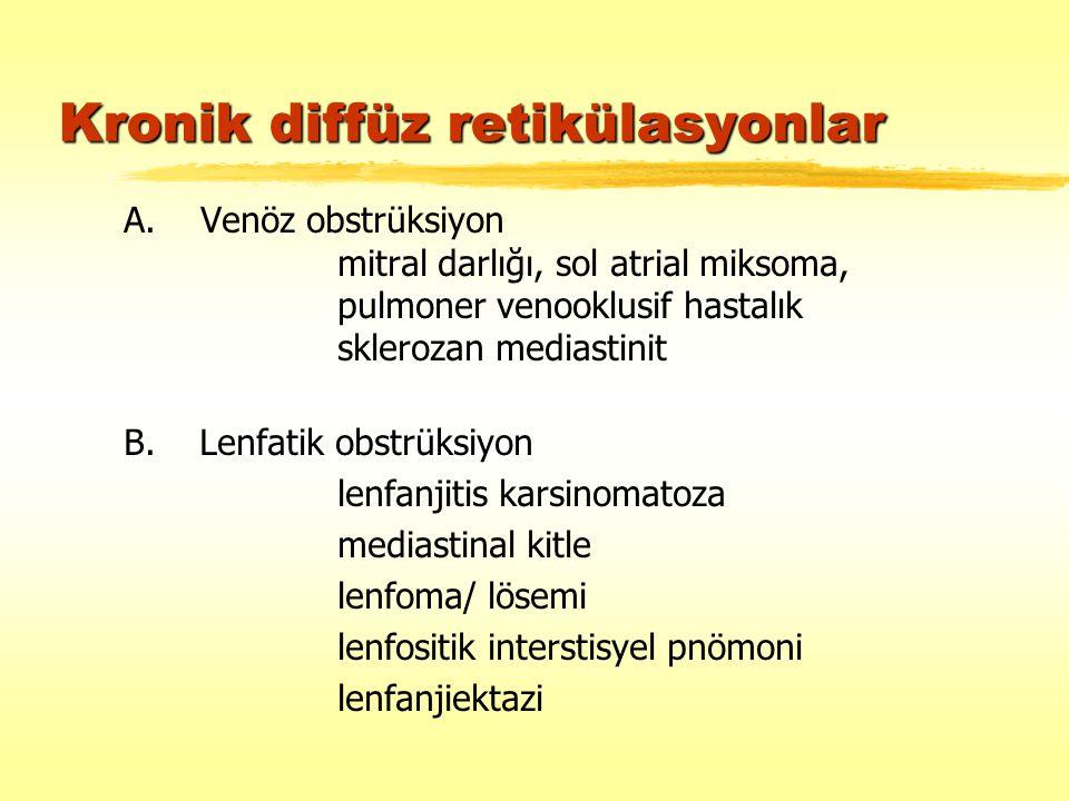 Kronik diffüz retikülasyonlar A. Venöz obstrüksiyon mitral darlığı, sol atrial miksoma, pulmoner venooklusif hastalık sklerozan mediastinit B. Lenfati