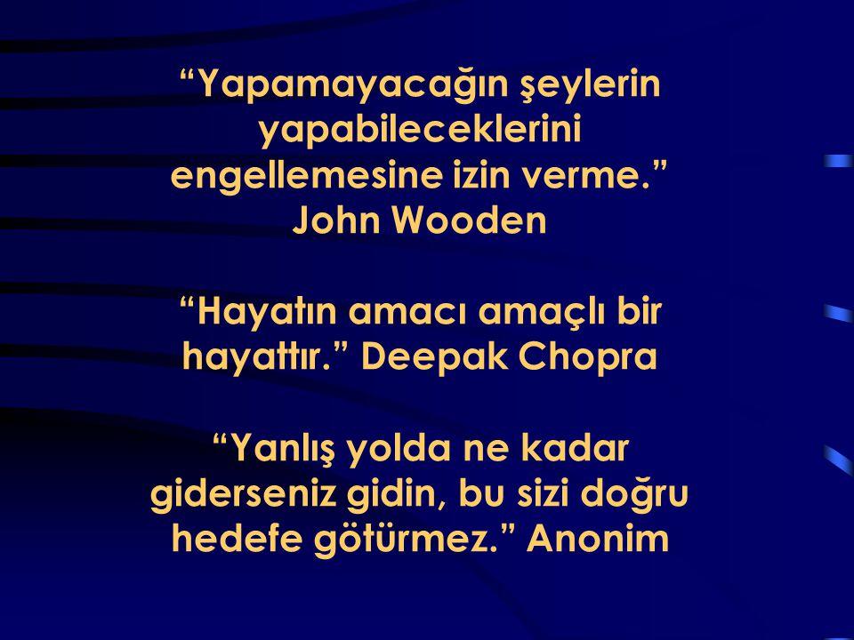 """""""Yapamayacağın şeylerin yapabileceklerini engellemesine izin verme."""" John Wooden """"Hayatın amacı amaçlı bir hayattır."""" Deepak Chopra """"Yanlış yolda ne k"""