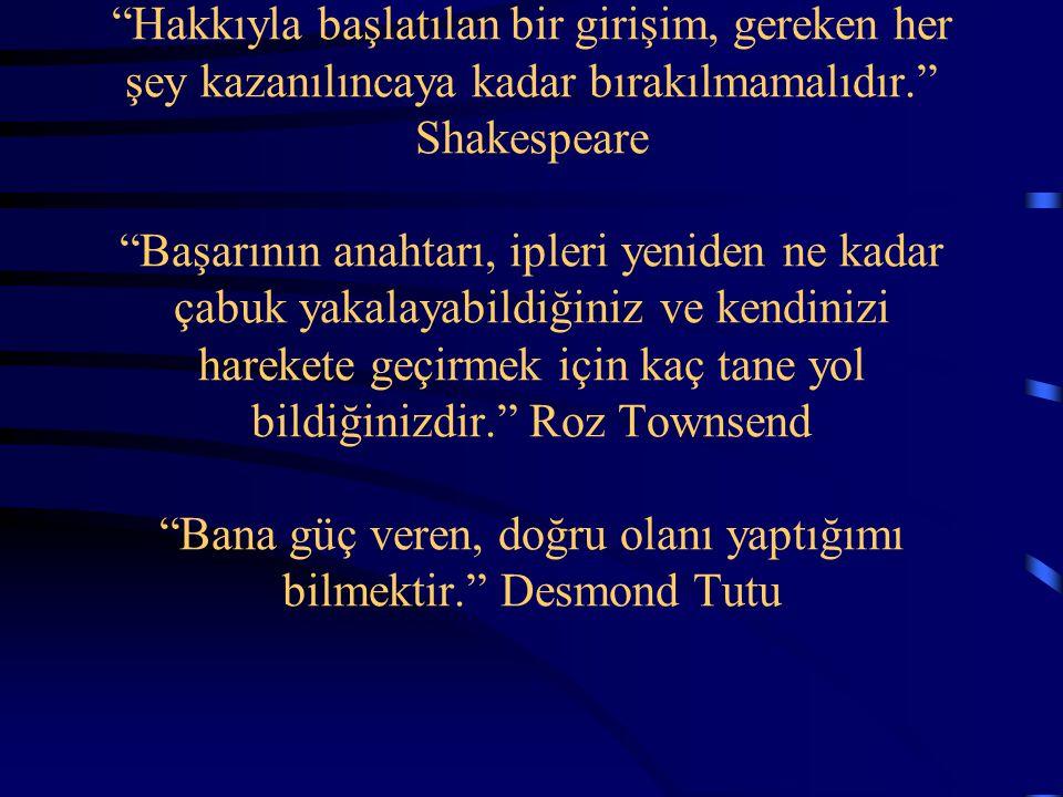 """""""Hakkıyla başlatılan bir girişim, gereken her şey kazanılıncaya kadar bırakılmamalıdır."""" Shakespeare """"Başarının anahtarı, ipleri yeniden ne kadar çabu"""