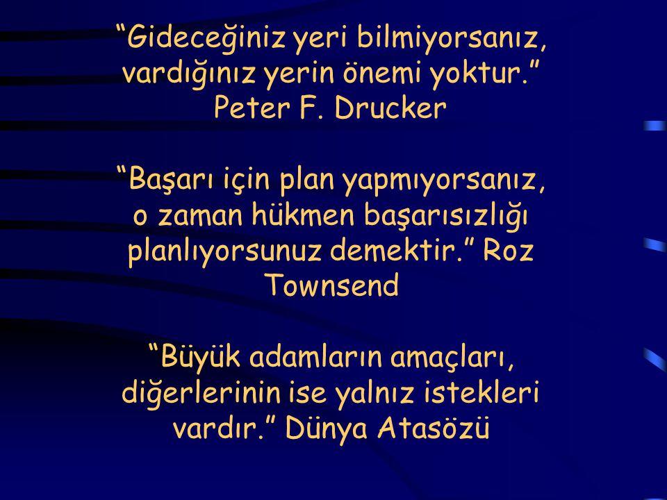 """""""Gideceğiniz yeri bilmiyorsanız, vardığınız yerin önemi yoktur."""" Peter F. Drucker """"Başarı için plan yapmıyorsanız, o zaman hükmen başarısızlığı planlı"""