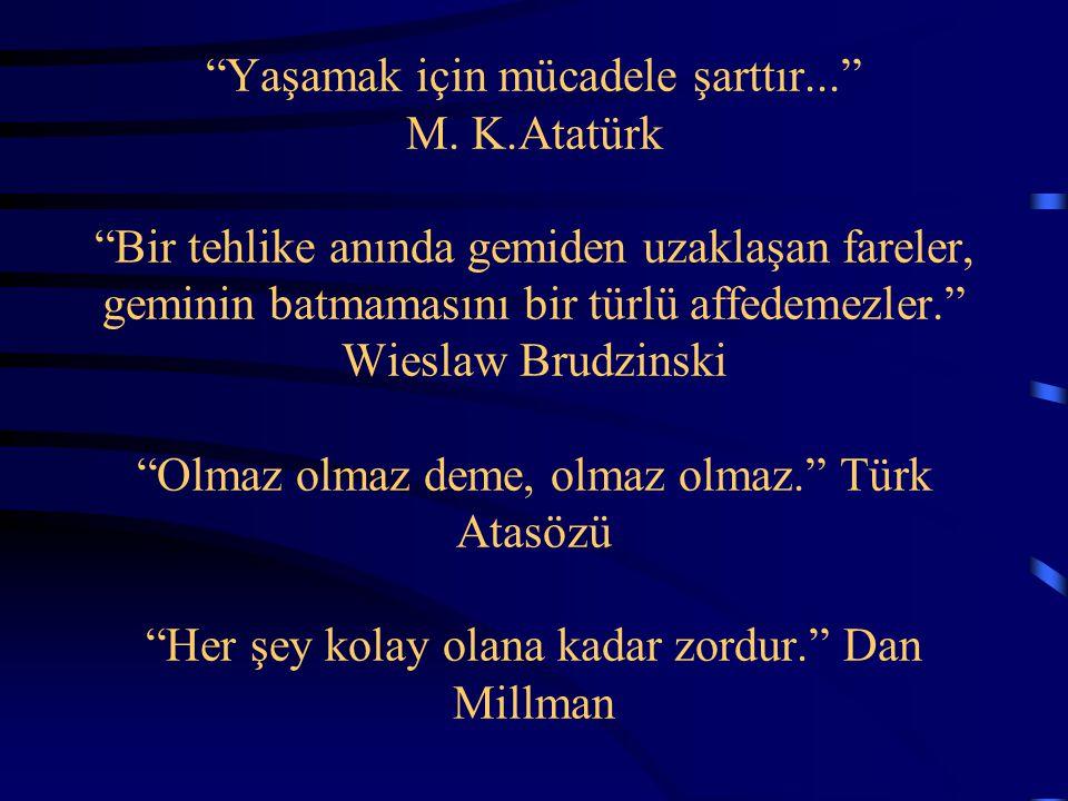 """""""Yaşamak için mücadele şarttır..."""" M. K.Atatürk """"Bir tehlike anında gemiden uzaklaşan fareler, geminin batmamasını bir türlü affedemezler."""" Wieslaw Br"""
