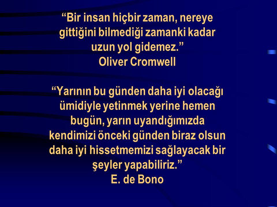 """""""Bir insan hiçbir zaman, nereye gittiğini bilmediği zamanki kadar uzun yol gidemez."""" Oliver Cromwell """"Yarının bu günden daha iyi olacağı ümidiyle yeti"""