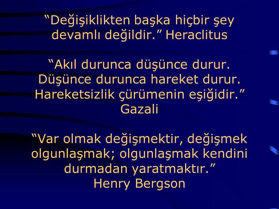 """""""Değişiklikten başka hiçbir şey devamlı değildir."""" Heraclitus """"Akıl durunca düşünce durur. Düşünce durunca hareket durur. Hareketsizlik çürümenin eşiğ"""