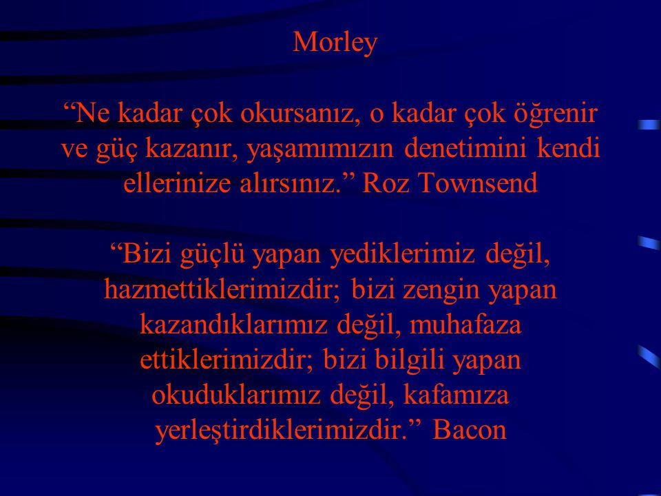 """Morley """"Ne kadar çok okursanız, o kadar çok öğrenir ve güç kazanır, yaşamımızın denetimini kendi ellerinize alırsınız."""" Roz Townsend """"Bizi güçlü yapan"""