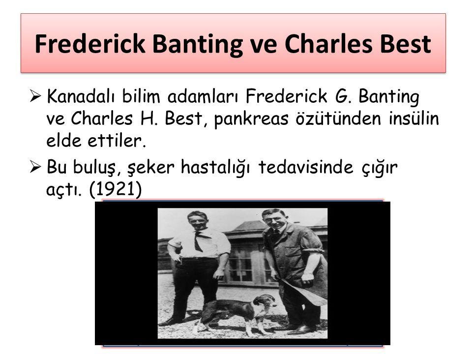 Frederick Banting ve Charles Best  Kanadalı bilim adamları Frederick G. Banting ve Charles H. Best, pankreas özütünden insülin elde ettiler.  Bu bul