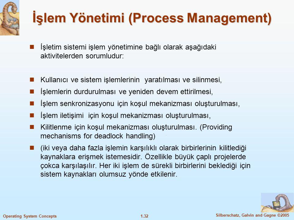 1.32 Silberschatz, Galvin and Gagne ©2005 Operating System Concepts İşlem Yönetimi (Process Management) İşletim sistemi işlem yönetimine bağlı olarak