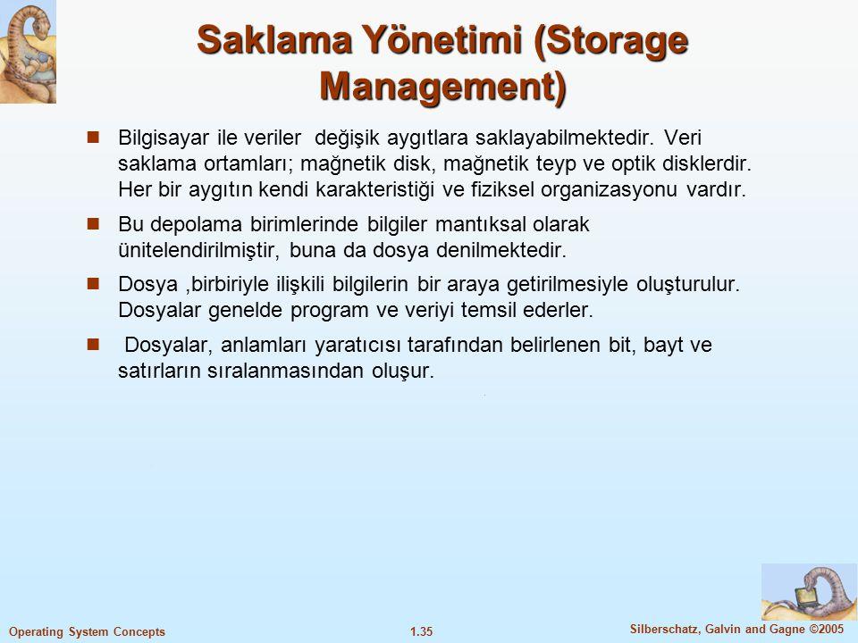 1.35 Silberschatz, Galvin and Gagne ©2005 Operating System Concepts Saklama Yönetimi (Storage Management) Bilgisayar ile veriler değişik aygıtlara sak