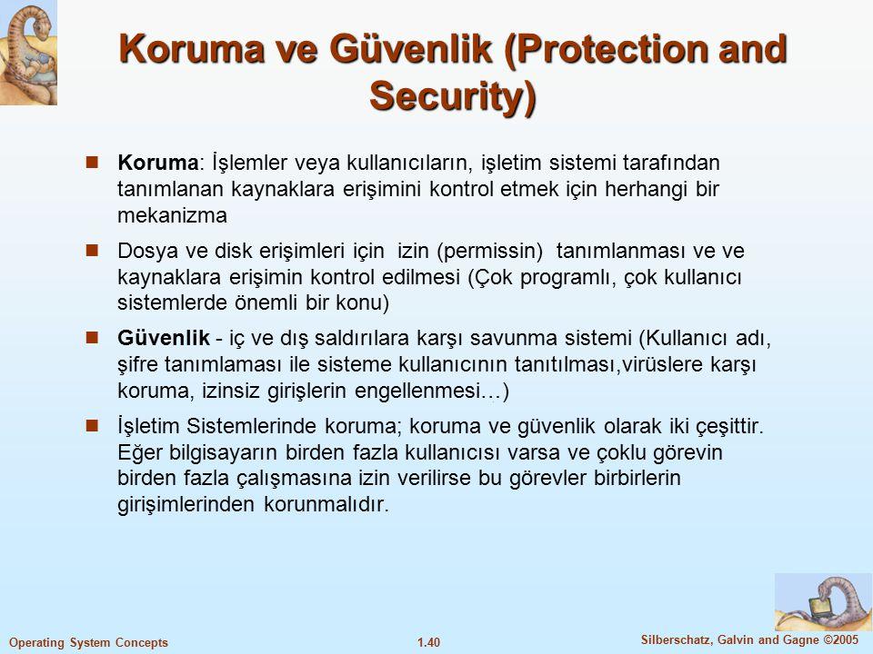 1.40 Silberschatz, Galvin and Gagne ©2005 Operating System Concepts Koruma ve Güvenlik (Protection and Security) Koruma: İşlemler veya kullanıcıların,