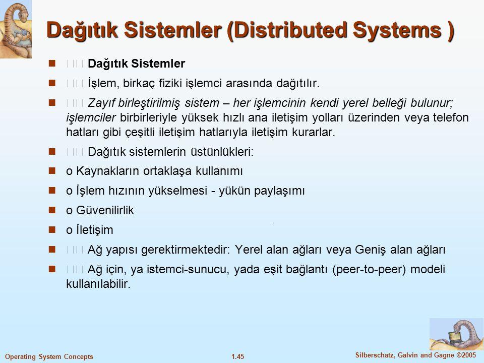 1.45 Silberschatz, Galvin and Gagne ©2005 Operating System Concepts Dağıtık Sistemler (Distributed Systems ) Dağıtık Sistemler İşlem, birkaç fiziki iş