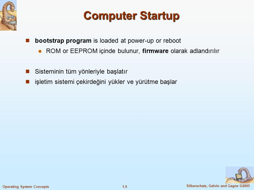 1.30 Silberschatz, Galvin and Gagne ©2005 Operating System Concepts İşletim sisteminin bileşenleri işletim sisteminin yapısı kullanıcı, programlayıcı ve işletim sistemini oluşturan kişi gözüyle incelenecektir.