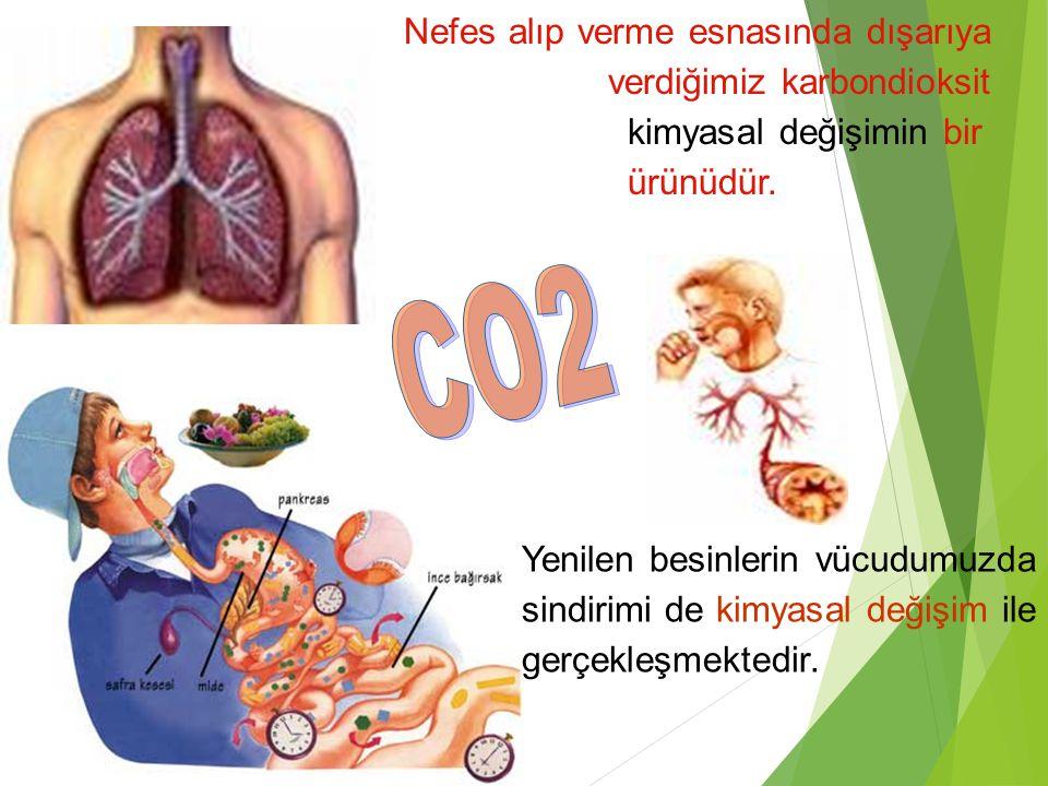 Nefes alıp verme esnasında dışarıya verdiğimiz karbondioksit kimyasal değişimin bir ürünüdür.