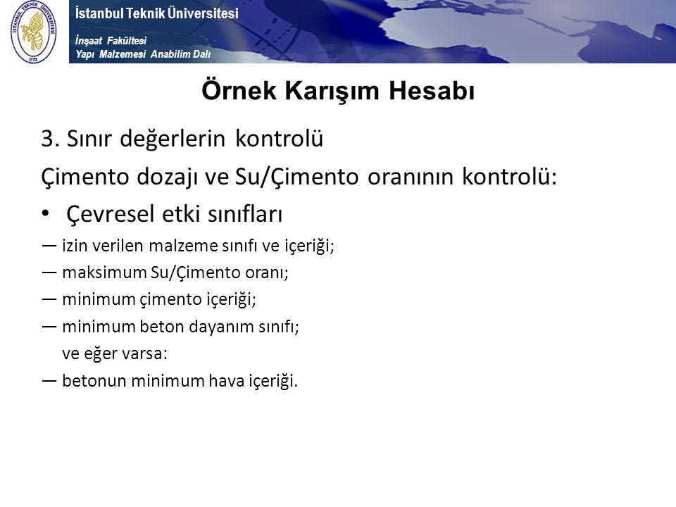 İstanbul Teknik Üniversitesi İnşaat Fakültesi Yapı Malzemesi Anabilim Dalı 3. Sınır değerlerin kontrolü Çimento dozajı ve Su/Çimento oranının kontrolü