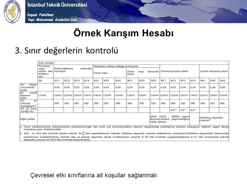 İstanbul Teknik Üniversitesi İnşaat Fakültesi Yapı Malzemesi Anabilim Dalı 3. Sınır değerlerin kontrolü Örnek Karışım Hesabı Çevresel etki sınıflarına