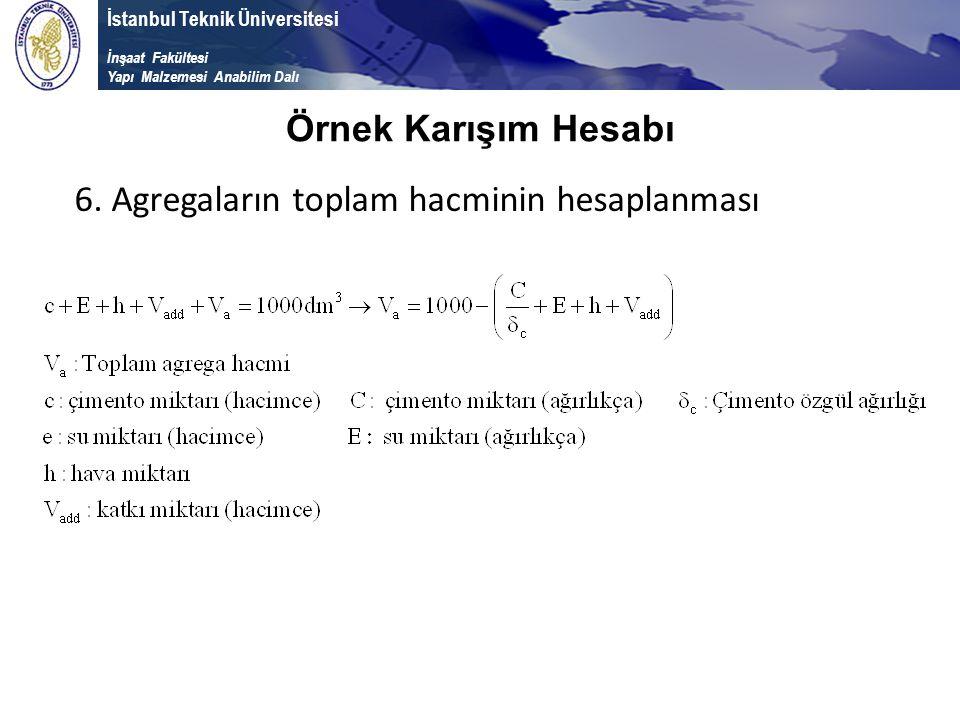 İstanbul Teknik Üniversitesi İnşaat Fakültesi Yapı Malzemesi Anabilim Dalı 6. Agregaların toplam hacminin hesaplanması Örnek Karışım Hesabı