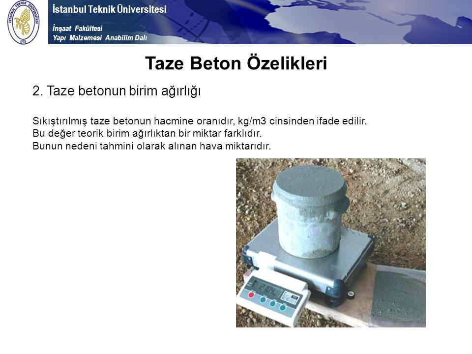 İstanbul Teknik Üniversitesi İnşaat Fakültesi Yapı Malzemesi Anabilim Dalı Taze Beton Özelikleri 2. Taze betonun birim ağırlığı Sıkıştırılmış taze bet