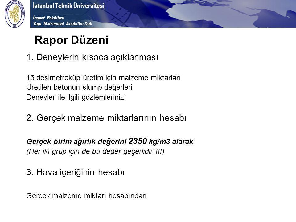 İstanbul Teknik Üniversitesi İnşaat Fakültesi Yapı Malzemesi Anabilim Dalı 1. Deneylerin kısaca açıklanması 15 desimetreküp üretim için malzeme miktar