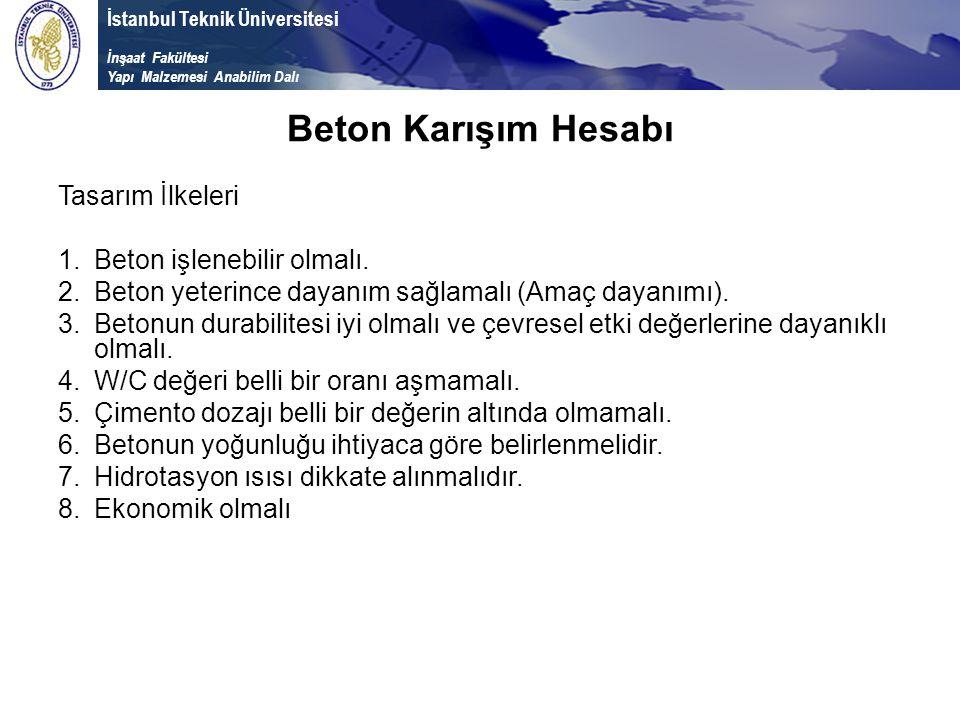 İstanbul Teknik Üniversitesi İnşaat Fakültesi Yapı Malzemesi Anabilim Dalı Beton Karışım Hesabı Tasarım İlkeleri 1.Beton işlenebilir olmalı. 2.Beton y