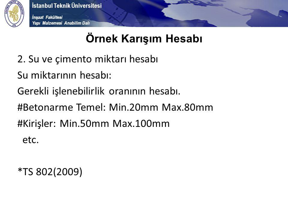 İstanbul Teknik Üniversitesi İnşaat Fakültesi Yapı Malzemesi Anabilim Dalı 2. Su ve çimento miktarı hesabı Su miktarının hesabı: Gerekli işlenebilirli