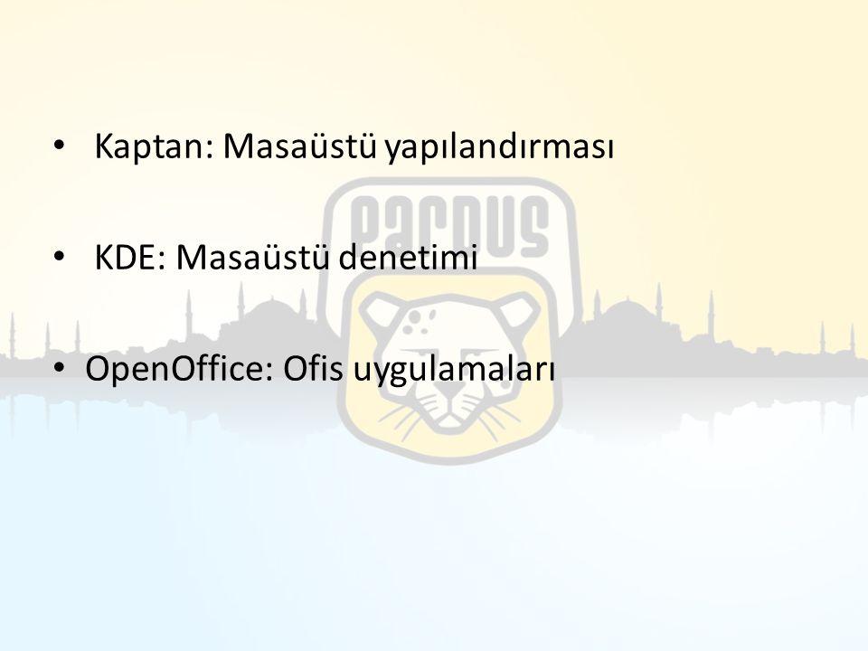 Kaptan: Masaüstü yapılandırması KDE: Masaüstü denetimi OpenOffice: Ofis uygulamaları