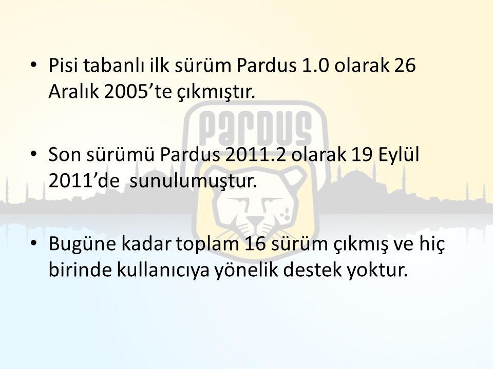 Pisi tabanlı ilk sürüm Pardus 1.0 olarak 26 Aralık 2005'te çıkmıştır. Son sürümü Pardus 2011.2 olarak 19 Eylül 2011'de sunulumuştur. Bugüne kadar topl