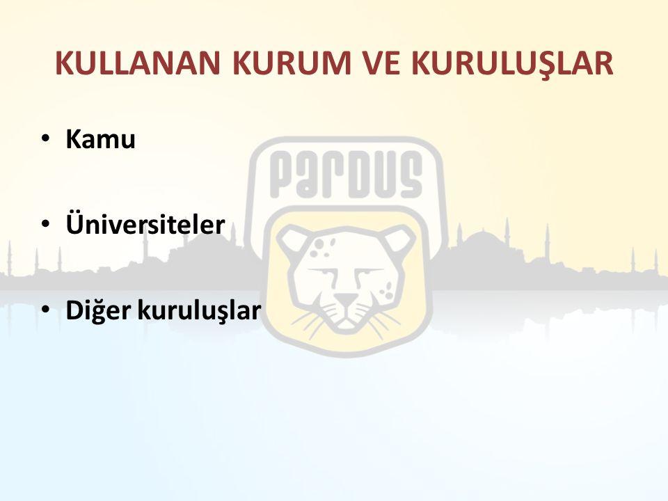 KULLANAN KURUM VE KURULUŞLAR Kamu Üniversiteler Diğer kuruluşlar