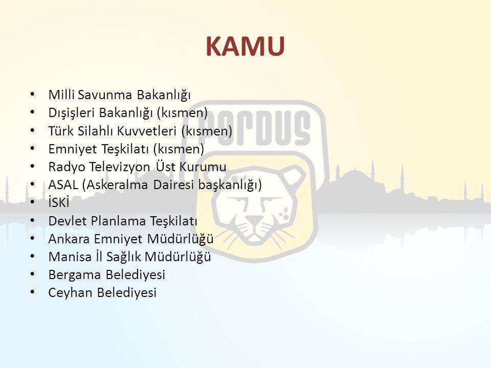 KAMU Milli Savunma Bakanlığı Dışişleri Bakanlığı (kısmen) Türk Silahlı Kuvvetleri (kısmen) Emniyet Teşkilatı (kısmen) Radyo Televizyon Üst Kurumu ASAL