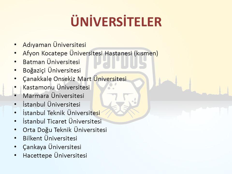 ÜNİVERSİTELER Adıyaman Üniversitesi Afyon Kocatepe Üniversitesi Hastanesi (kısmen) Batman Üniversitesi Boğaziçi Üniversitesi Çanakkale Onsekiz Mart Ün