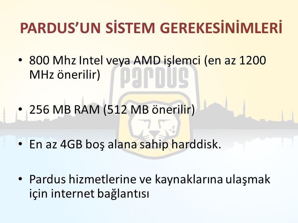 PARDUS'UN SİSTEM GEREKESİNİMLERİ 800 Mhz Intel veya AMD işlemci (en az 1200 MHz önerilir) 256 MB RAM (512 MB önerilir) En az 4GB boş alana sahip hardd