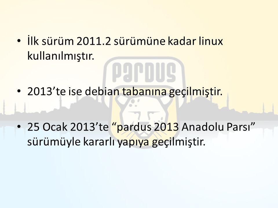 """İlk sürüm 2011.2 sürümüne kadar linux kullanılmıştır. 2013'te ise debian tabanına geçilmiştir. 25 Ocak 2013'te """"pardus 2013 Anadolu Parsı"""" sürümüyle k"""