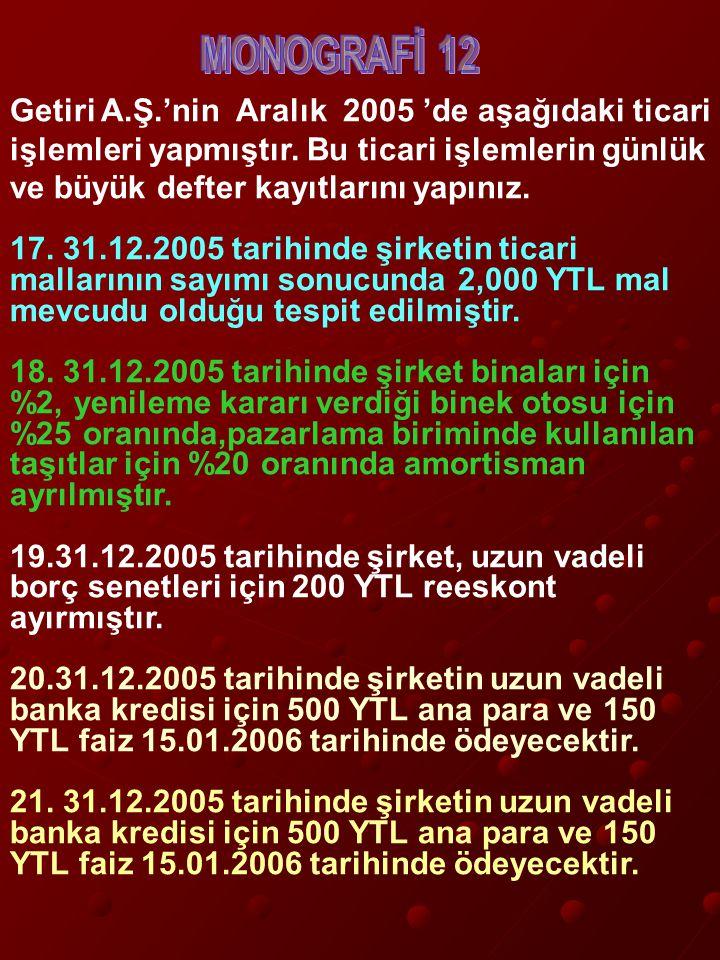 Getiri A.Ş.'nin Aralık 2005 'de aşağıdaki ticari işlemleri yapmıştır.