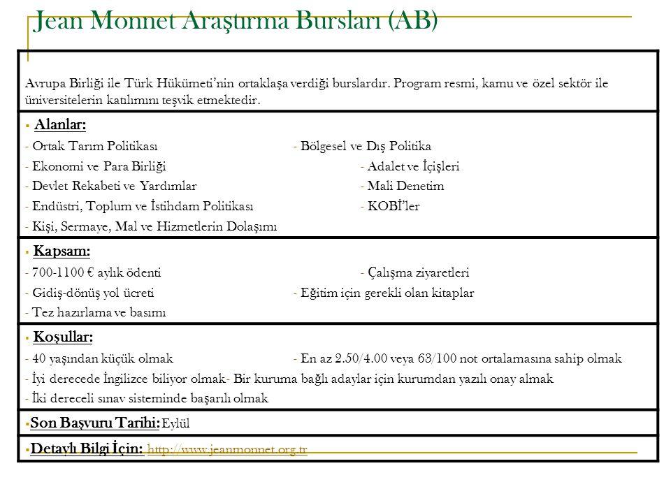 Jean Monnet Ara ş tırma Bursları (AB) Avrupa Birli ğ i ile Türk Hükümeti'nin ortakla ş a verdi ğ i burslardır. Program resmi, kamu ve özel sektör ile