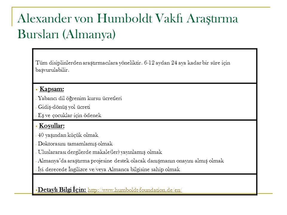 Alexander von Humboldt Vakfı Ara ş tırma Bursları (Almanya) Tüm disiplinlerden ara ş tırmacılara yöneliktir. 6-12 aydan 24 aya kadar bir süre için ba