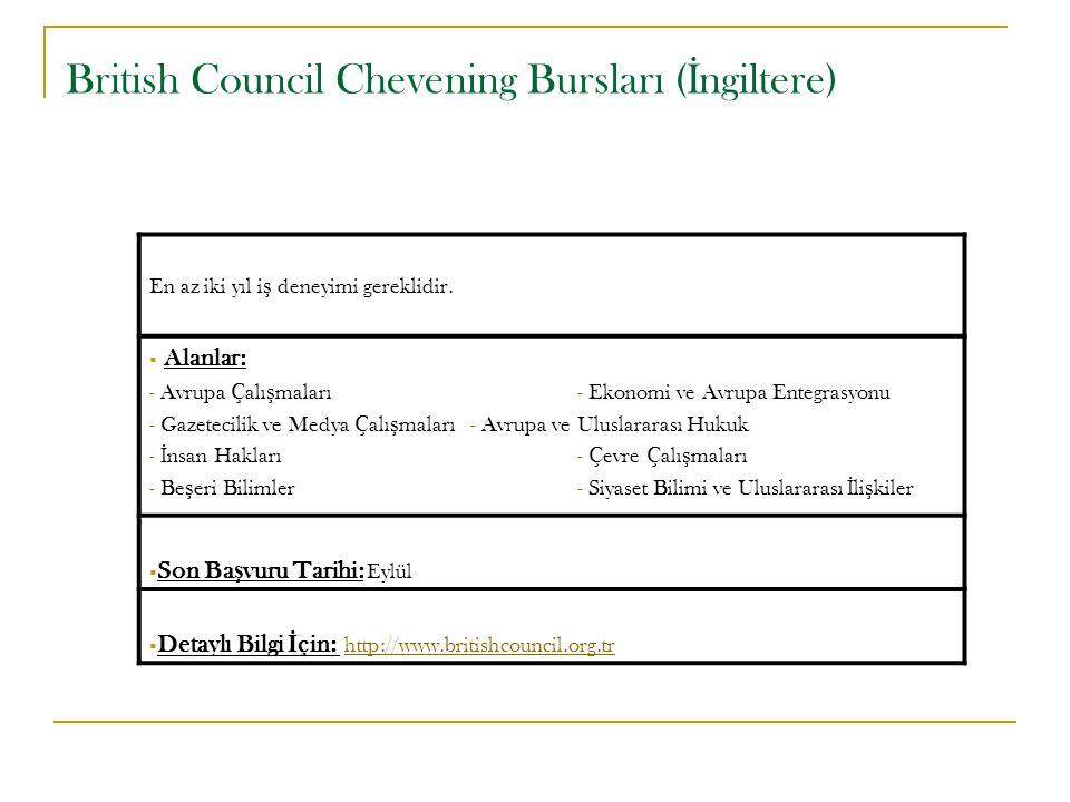 British Council Chevening Bursları ( İ ngiltere) En az iki yıl i ş deneyimi gereklidir.  Alanlar: - Avrupa Çalı ş maları- Ekonomi ve Avrupa Entegrasy