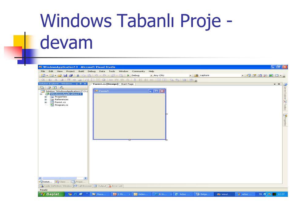 Windows Tabanlı Proje - devam