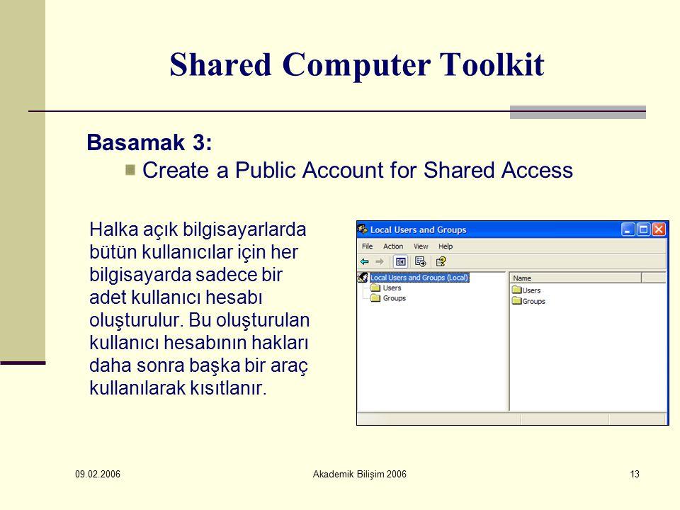 09.02.2006 Akademik Bilişim 200613 Shared Computer Toolkit Halka açık bilgisayarlarda bütün kullanıcılar için her bilgisayarda sadece bir adet kullanıcı hesabı oluşturulur.