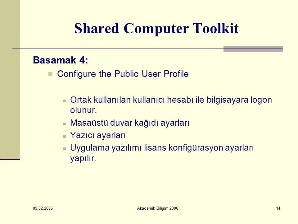 09.02.2006 Akademik Bilişim 200614 Shared Computer Toolkit Basamak 4: Configure the Public User Profile Ortak kullanılan kullanıcı hesabı ile bilgisayara logon olunur.
