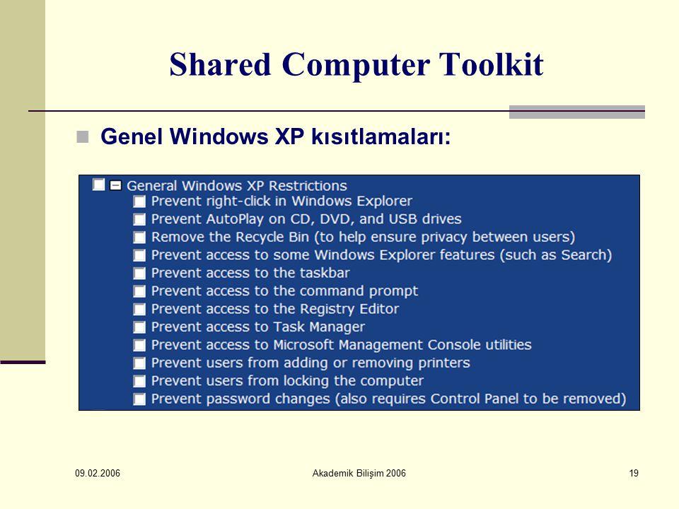 09.02.2006 Akademik Bilişim 200619 Shared Computer Toolkit Genel Windows XP kısıtlamaları:
