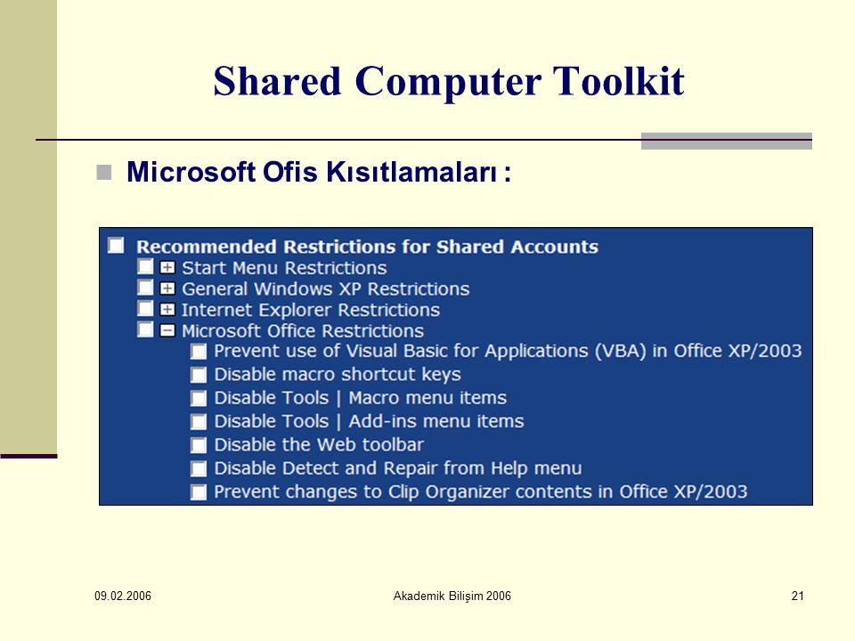 09.02.2006 Akademik Bilişim 200621 Shared Computer Toolkit Microsoft Ofis Kısıtlamaları :