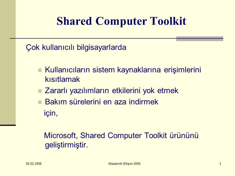 09.02.2006 Akademik Bilişim 20063 Shared Computer Toolkit Çok kullanıcılı bilgisayarlarda Kullanıcıların sistem kaynaklarına erişimlerini kısıtlamak Zararlı yazılımların etkilerini yok etmek Bakım sürelerini en aza indirmek için, Microsoft, Shared Computer Toolkit ürününü geliştirmiştir.