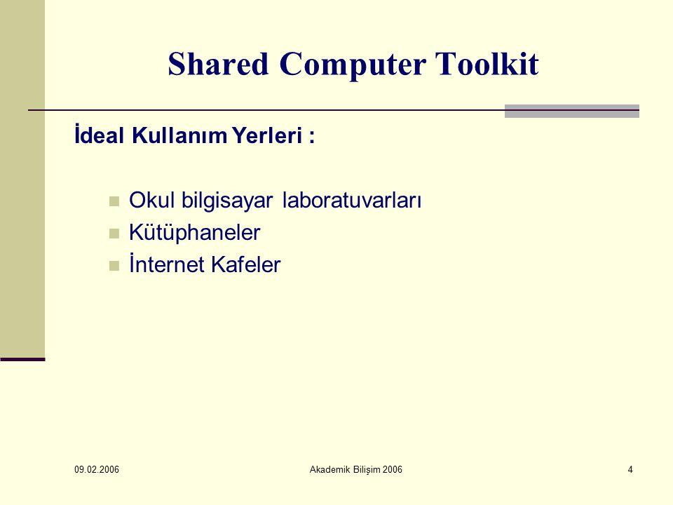 09.02.2006 Akademik Bilişim 20064 Shared Computer Toolkit İdeal Kullanım Yerleri : Okul bilgisayar laboratuvarları Kütüphaneler İnternet Kafeler