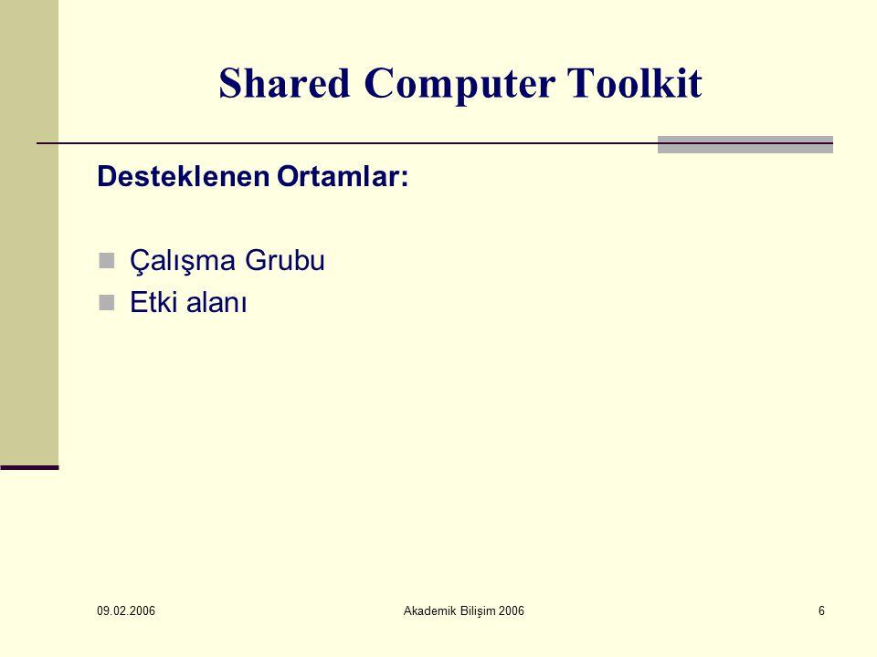 09.02.2006 Akademik Bilişim 200617 Shared Computer Toolkit Recommended Restrictions Kısmından; Başlat Menüsü kısıtlamaları Genel Windows XP kısıtlamaları İnternet Explorer kısıtlamaları Microsoft Ofis kısıtlamaları Yazılım kısıtlamaları yapılabilir.