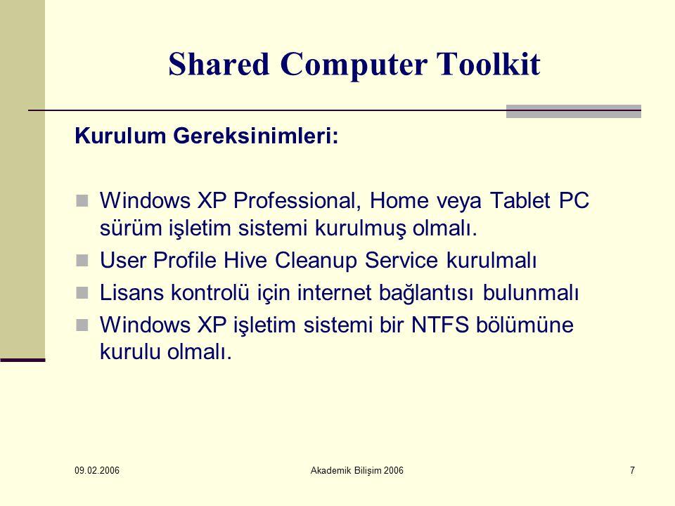 09.02.2006 Akademik Bilişim 20068 Shared Computer Toolkit Kurulum Önerileri: Kurulumdan önce zararlı yazılımların temizlenmiş olması gerekir En son Windows güncelleştirmelerinin yüklenmiş olması gerekir Güncel virüs tanımlamaları yüklenmiş bir antivirüs programı yüklenmiş olması gerekir