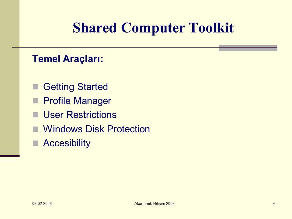 09.02.2006 Akademik Bilişim 200610 Shared Computer Toolkit Konfigürasyon İşlemleri: